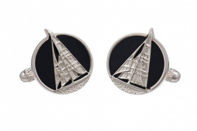 Yacht Cufflinks on Black Background